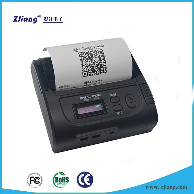 Wireless Mobile Mini Printer Android POS Terminal with 80*30mm Thermal Paper Roll ZJ-8002LD