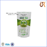 low price standup plastic foil lined China green tea packaging plastic bag with flat bottom