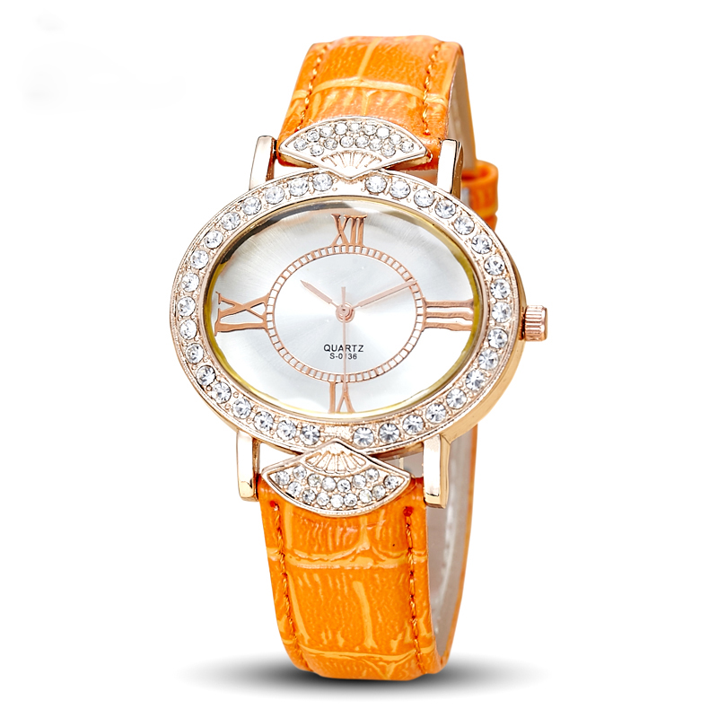 Lady Watch Women's Hours Quartz Fashion Dress Leather Bracelet Luxury Candy Crystal Christmas Girl Birthday Gift watches