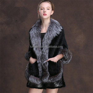Wholesale High Quality Natural Black Real Knitted Mink Fur Cape for Women with Silver Fox Fur Collar and Trim Shawl Poncho