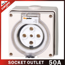 50A with 5 hole european electrical outlet socket