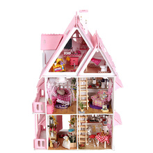 Factory best selling puzzle 3d led light wooden miniature house for sale