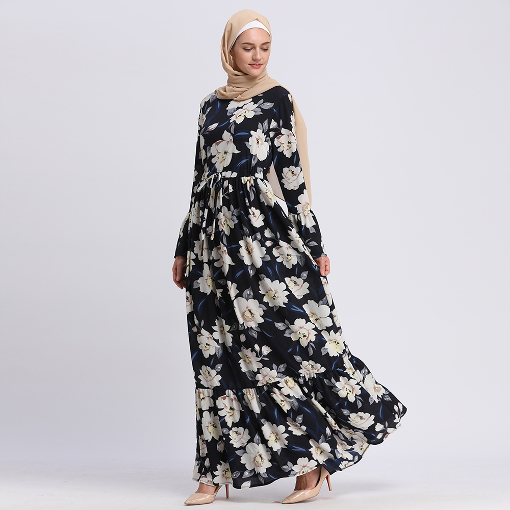 Good Looking Islamic Fashion Floral Printed Heavy Polyester Dubai Clothing For Women Kaftan Indian Muslim Dress Plus Size