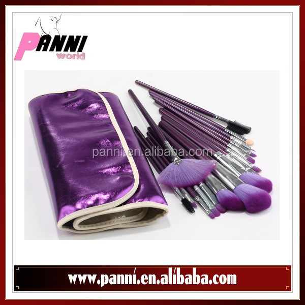 Latest fashion individual face make up brushes 16pcs purple brushes in deep purple pouch