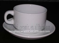Plain White Ceramic Coffee Cup And Saucer