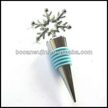 Snowflake shaped,seastar and heart shaped metal wine bottle stopper with blue silica gel