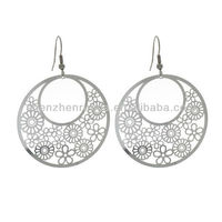 2013 New Products On Market Stainless Steel Three Quarter Moon Design Dangle Earrings