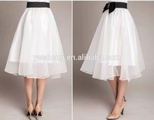 Fashion Summer Women Korean Style Lady Solid Organza Skirt Embroidered Gril Silk Long Organza Skirt