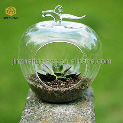 Crystal fruit pear and apple shaped Flower Plant Stand Hanging Vase for for Plant Candle Tea light Holder