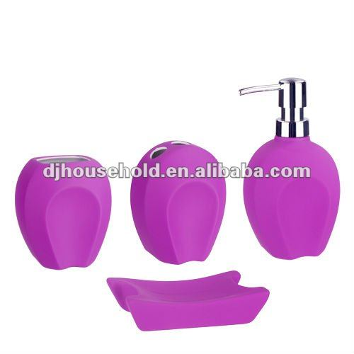 special design porcelain with rubber coating bath set of 4pcs BC9034