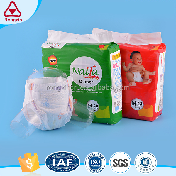 Non woven fabric soft breathable printed disposable super absorbent baby diapers
