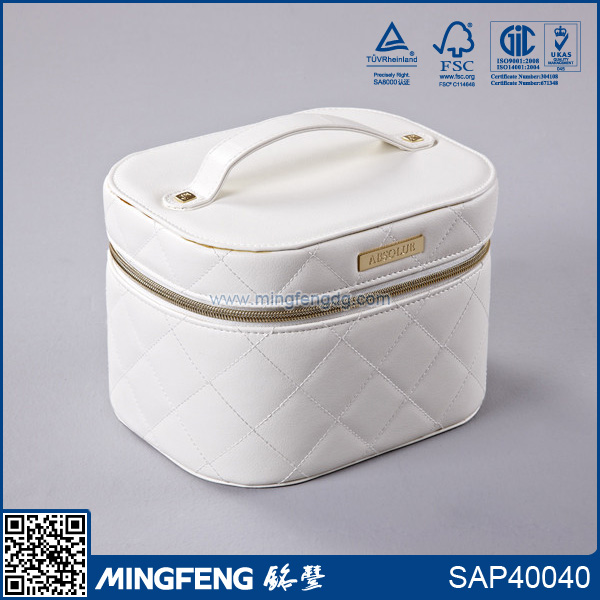 High quality white PU cosmetic case with a handle on the top