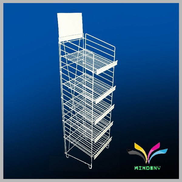 4 tier black flooring collapsible sturdy wire metal rotary display rack