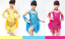 new arrive children dance dress girls feathers Latin dance skirt