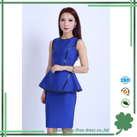 Fashionable blue ruffle ladies office bandage dress ladies formal wear