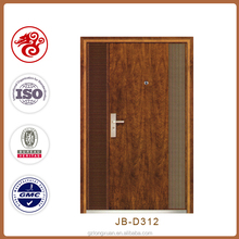 Modern security door design steel swing wood finished one and half door