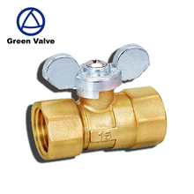 Green-GutenTop GT3003 Famale/Famale Brass Ball Valve with Butterfly Handle for water & gas