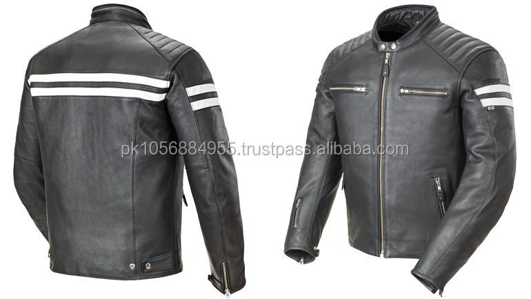 High Quality Genuine men motorbike leather cruiser jacket