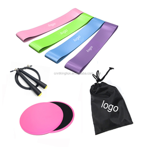 Travelling workout bundle Gliding Discs 4 Loop Exercise Bands Speed Jump Rope with A Carry Bag