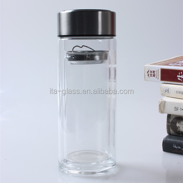 High quality factory portable custom protein tea cup shaker joyshaker double wall borosilicate glass bottle water with filter