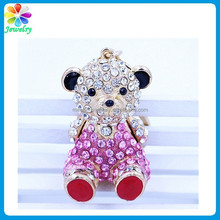 Custom design cute metal crystal diamonds paved bear keyring keychain bear