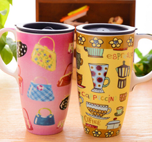 Big capacity 550ML ceramic coffee travel car mugs christmas mug with and with lid and handle