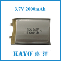 Kayo lipo 103051 2000mAh 3.7V lithium battery high capcity rechargeable batteries for mobile phone cordless power tools