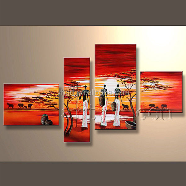 Modern handmade group canvas art african art painting