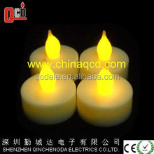 Battery-powered by 1*CR2032 Flameless LED Tealight Candles, set of 4 no timer in color box packing