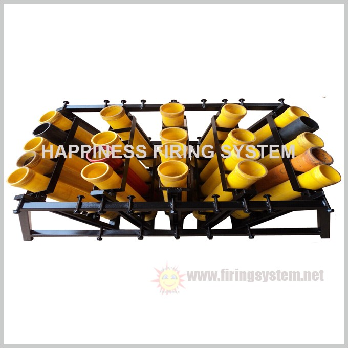 "Liuyang Happiness 5"" 25 shots mortar tubes loading slot-types display rack/ fireworks display rack, China supplier"