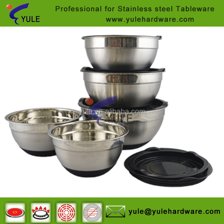 Hot sale black non-slip 5 piece stainless steel mixing bowls set with lids