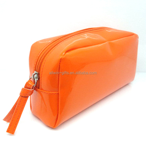 Promotion cheap fashion women shiny PVC neon cosmetic bag with zipper