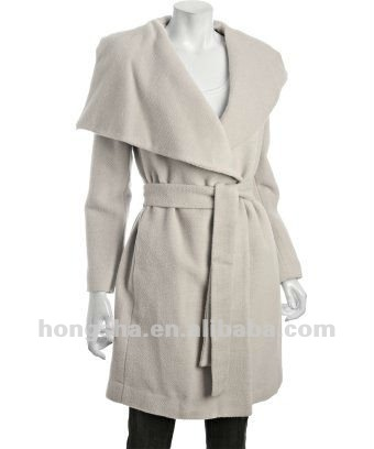 alibaba china oem manufacture flax wool blend drape shawl wrap belted coat for Women Hsc-098