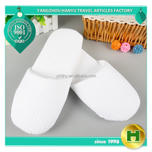 Luxury Sponge Hotel Slippers / White Luxury VIP Waffle Pattern Inn Room Slippers / Plain Big Size Dotted Fabric Indoor Slippers