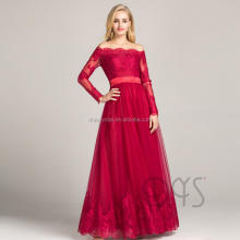 High fashion floor length dark red off-shoulder lace evening dress DS0504-20