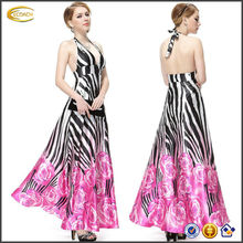 OEM 2015 wholesale floor length Pretty Empire Waist Padded Floral Print Sexy Plunge V-neck prom dress