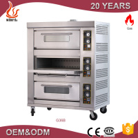 Factory price commercial 3 deck 6 tray bakery machine gas pizza oven for sale