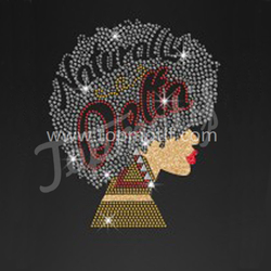Natural afro heat transfers rhinestone