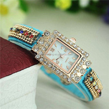 Diamond ethnic flavor cloth band square lady vogue watch