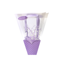 Trapezoid 2 colors flower gift wrapping pp plastic bag with handles