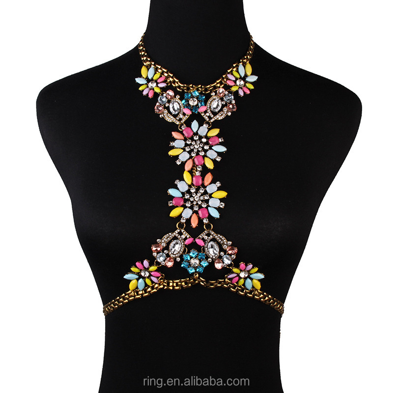 New Sexy Multi AB Crystal Body Chains Women Bikini Body jewelry Gold Pendant long Necklaces waist crossover belly chains