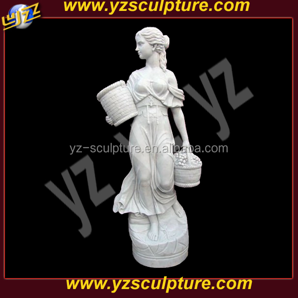 garden white marble figure girl statue with basket statue