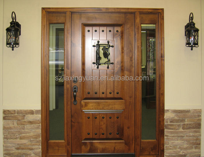 Traditional wooden single main door design buy wooden for Single wooden door designs 2016