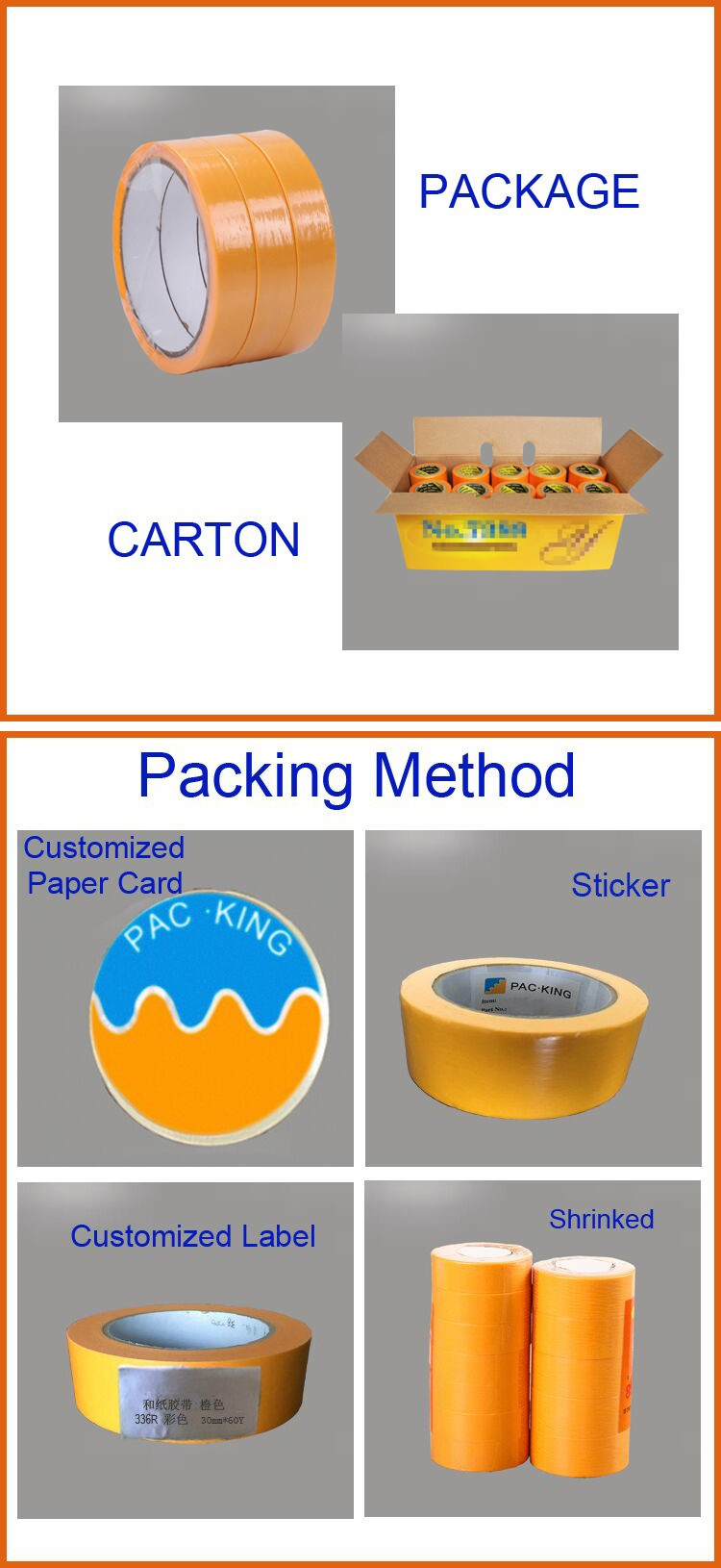 Printing Acrylic adhesive Rice paper painting masking tape for furniture, decoration masking tape
