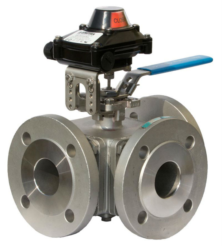 3-Way Flanged Ball Valve made of Stainless Steel with Limit Switch Box