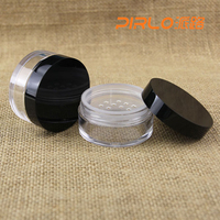 20g plastic loose powder jar with black cap & sifter round custom empty loose powder container