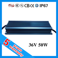 5 years warranty waterproof IP67 50W 36V LED driver , PFC driver LED 50W with open frame available