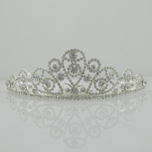 Popular alloy crystal hair ornaments tiara crown princess brithday bride crown for kids