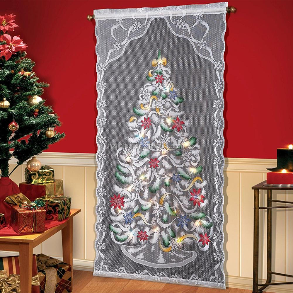Polyester White Christmas Lighted Lace Window Curtain 40 by 84 inch, Christmas Window Treatment Panels for Christmas Party