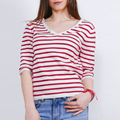 Latest design girls top casual t shirts wholesale china women striped t shirt